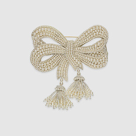 GUCCI - Resin pearl bow brooch