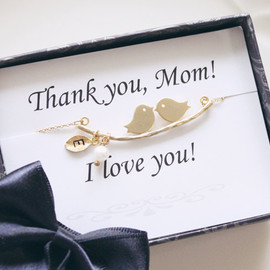 Mothers day gift - Thank you card & Love birds initial necklace,Personalized Initial Jewelry, Family necklace, Mom jewelry, gifts for mom