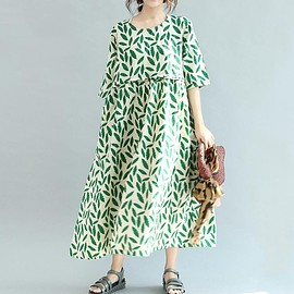 Floral maxi dress - Floral maxi dress, maxi dress summer, linen dress in green, casual dress, maxi dress with pockets