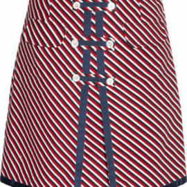 BLACK FLEECE BY Brooks Brothers - Striped Textured Cotton Skirt