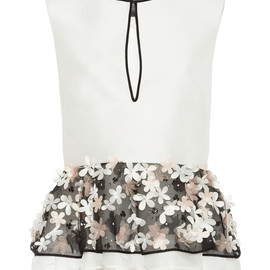 MONIQUE LHUILLIER - White Crepe Top With Floral Embroidered Peplum