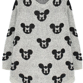 Mickey Print Loose Knit Sweater pictures
