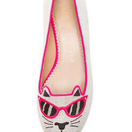 Charlotte Olympia - Sunkissed Kitty Flats in Fluorescent Pink