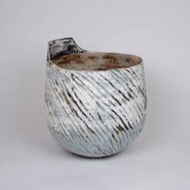 Ani Kasten - Blue and White Vessel w/ Grid Handle