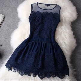 Elegant Floral Crochet Lace Spliced Bubble Dress