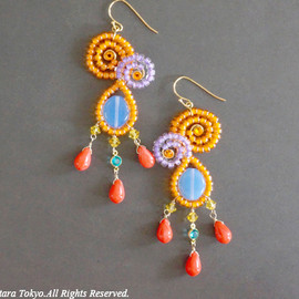 Ostara - Orange,Purple Curvy Dangle Earring/Red Czech Glass