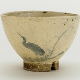 Odo ware tea bowl - Odo ware tea bowl with design of heron and reeds. 18th-19th century.