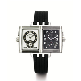 JAEGER-LECOULTRE A STAINLESS STEEL RECTANGULAR REVERSIBLE DUAL TIME ZONE WRISTWATCH WITH DATE CIRCA 2004 REVERSO