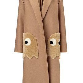 ANYA HINDMARCH - FW2016 Oversized Coat Ghosts In Camel Wool With  Shearling Trim