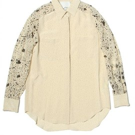 3.1 Phillip Lim - combo print shoulder pleated shirt w/zipped cuffs