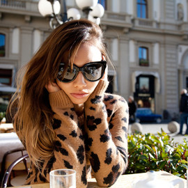 Claude Pierlot - Having coffee and soaking in the sunshine at Caffe Gilli with Bryan in Piazza della Repubblica, the service and menu are just over the top and so luxurious. Wearing a Claude Pierlot sweater.