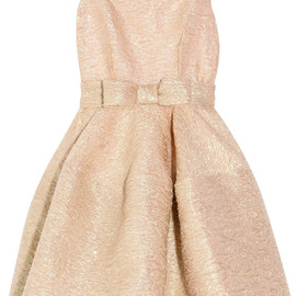 LANVIN - Bow-embellished textured-crepe dress
