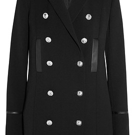 Versus Versace - Double-breasted leather-trimmed wool jacket