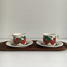 "Arabia - Vintage Arabia Finland coffee cup and saucer named ""Kirsikka"","