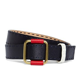 BLACK FLEECE BY Brooks Brothers - STITCHED LEATHER BELT Navy-Red-White