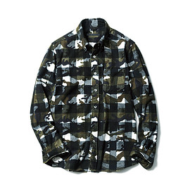 SOPHNET. - CAMOUFLAGE OVER PRINT FLNNEL CHECK B.D SHIRT