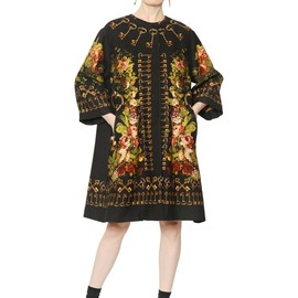 DOLCE&GABBANA - FW2014 KEYS & FLORAL WOOL SILK BLEND GAZAR COAT