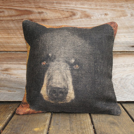 TheWatsonShop - Burlap Pillow Cover of Black Bear