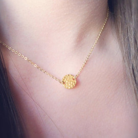 donnabjewelry - Hammered Gold Disk Necklace