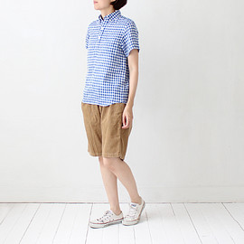 standart at hand - linen scott short sleeve / blue check