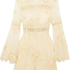 Zimmermann - Tropicale Antique lace-trimmed embroidered silk-georgette playsuit