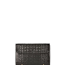 ALEXANDER WANG - Chastity Clutch In Embossed Black With Yellow Gold Thumb