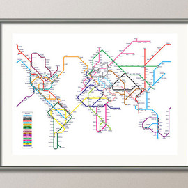 artPause - World Map as a Tube Metro System, Art Print, 18x24 inch (596)