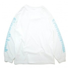 Goodblank - Outline Logo L/S TEE White×L/Blue