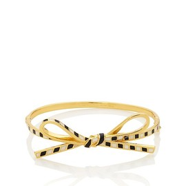 kate spade NEW YORK - SKINNY MINI BOW BANGLE (black×cream)
