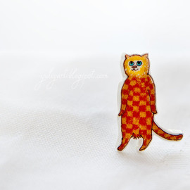 YuliyaArt - Standing Cat - handmade brooch check Gingham red orange yellow kitty kitten cute animal pet mammal Felis white oht ecru skin accessory pin