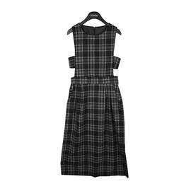 STYLENANDA - Checkered Overall Dress with Strapped Sides