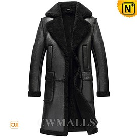 CWMALLS - CWMALLS® Men Black Sheepskin Trench Coat CW808005 [Patented Product, Custom Made]
