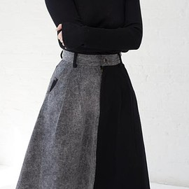 69 - Cow Person Skirt in Black/Acid Wash