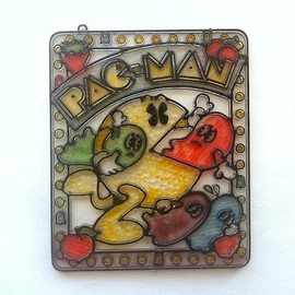 1980 Plastic Handpainted Pac-Man Stained Glass