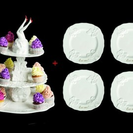 undergrowth - Christmas gift set cakestand + 4 plates