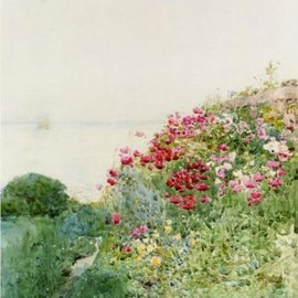 Childe Hassam - Field of Poppies, Isles of Shaos, Appledore, 1890, painting, oil on canvas