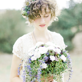 Naturalist Wedding - bride with bouquet
