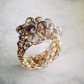 Luulla - Gold filled crochet ring with Smoky quartz