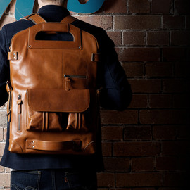 hard graft - hard graft's modular 2unfold tanned leather laptop + tablet bag