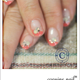 coquine nail - クロスフレンチ。