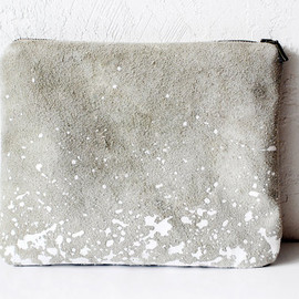 FREE SHIP  - Splatter Leather-Suede Pouch