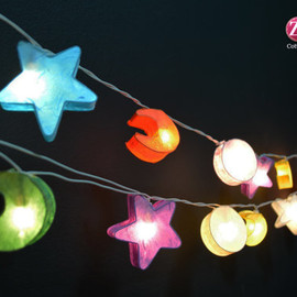 Star : 20 Mixed Star Moon and Sun Mulberry paper String Lights