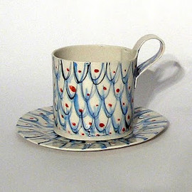 ALICE GARLAND - CUP and SAUCER - Blue scale