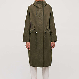 COS - Long Hooded Parka in Green