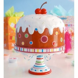 """Glitterville -  Covered Birthday Pedestal Cake Plate w/ Giant Cherry, Large 15"""""""