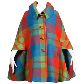 George Richards - 1960s Vintage Plaid Cape Coat
