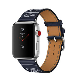 Hermès, Apple - WATCH Hermès SERIES 3: Marine Gala Leather Single Tour Eperon d'Or