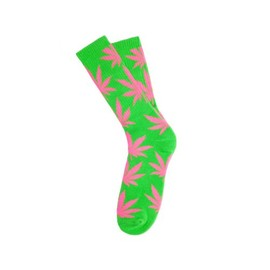 HUF - GLOW IN THE DARK PLANTLIFE CREW SOCKS (Green/Pink)