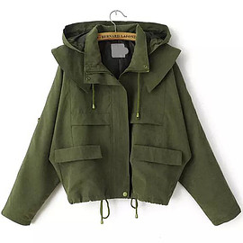 Romwe - Hooded Drawstring With Pockets Army Green Coat