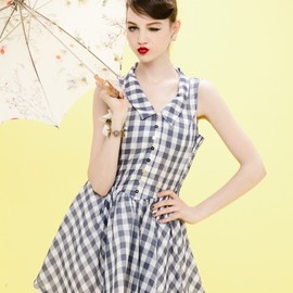 Honey mi Honey - gingham check halter one-piece